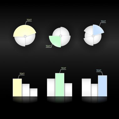 Set of vector diagram and pie charts stock vector