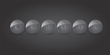 Vector set of media buttons. stock vector