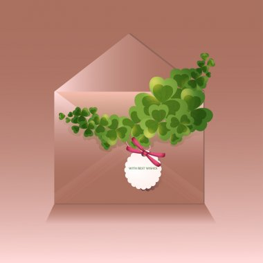 Vector greeting envelope with clovers stock vector