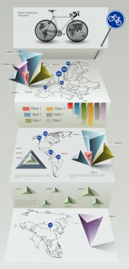 Paper Origami Infographic Elements stock vector
