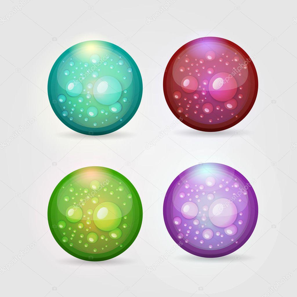 Vector set of colored aqua buttons stock vector