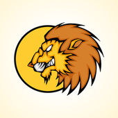 Vector illustration of a lion head snapping set inside circle.