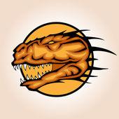 Vector illustration of a dinosaur head snapping set inside circle.