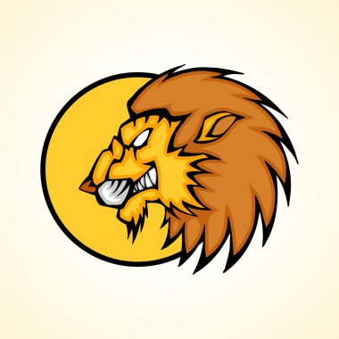 Vector illustration of a lion head snapping set inside circle. stock vector