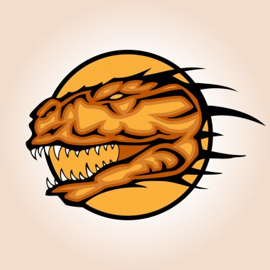 Vector illustration of a dinosaur head snapping set inside circle.
