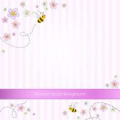 Vector pink striped background with bees and flowers