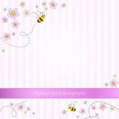 Vektor rosa gestreifter Hintergrund mit Bienen und Blumen