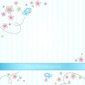 vektorové modré pruhované pozadí s motýly a květiny