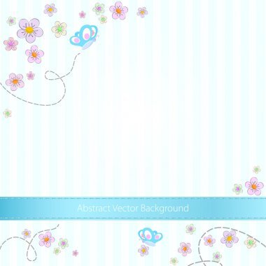 Vector blue striped background with butterflies and flowers stock vector