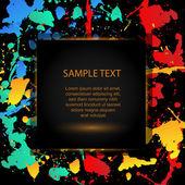 farbenfroher, heller Tintenklecks mit schwarzem Hintergrund, Vektor