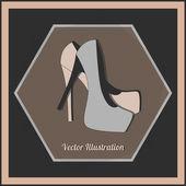 divat, női magas sarkú cipő, vektor