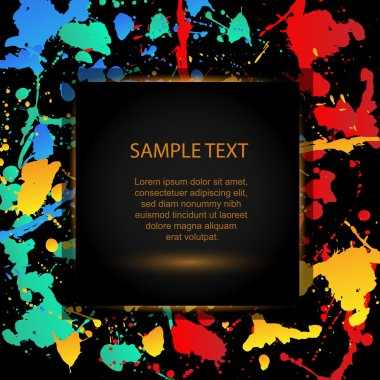 Colourful bright ink splat design with a black background, Vector stock vector