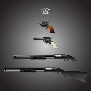Weapons arsenal set. Vector illustration. stock vector
