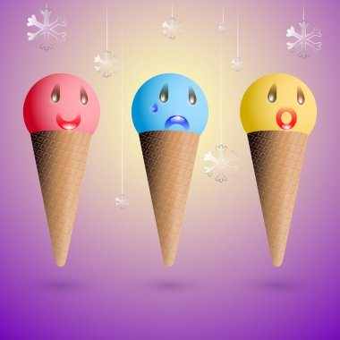 Ice cream emotions. Vector set. stock vector