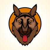 vektorové ilustrace hlavy psa štěkat sada uvnitř kruhu.