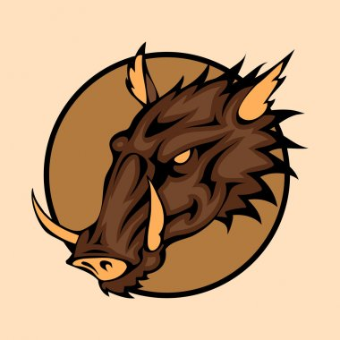 Vector illustration of a wild boar head snapping set inside circle.