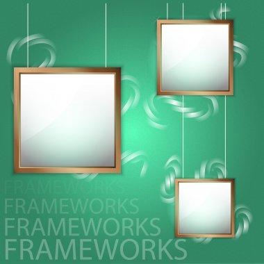 Vector wooden picture frames stock vector