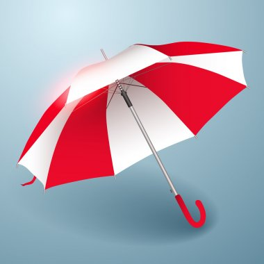 Vector umbrella. Red and white. stock vector