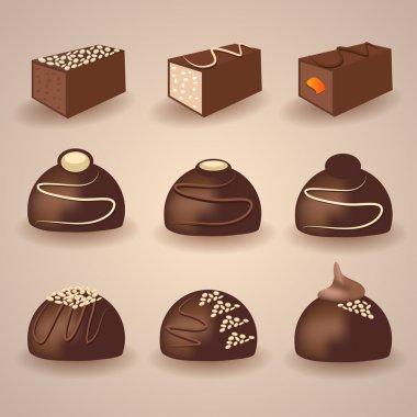 Vector set of chocolate candies stock vector