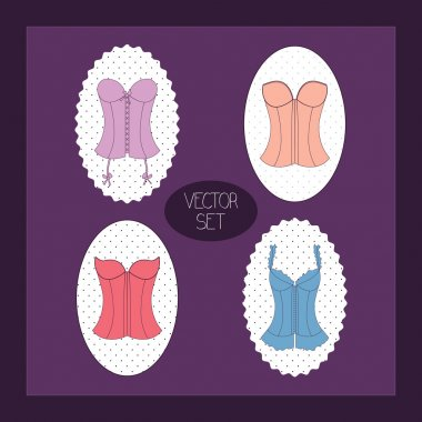 Vintage purple background with lady's corset set stock vector