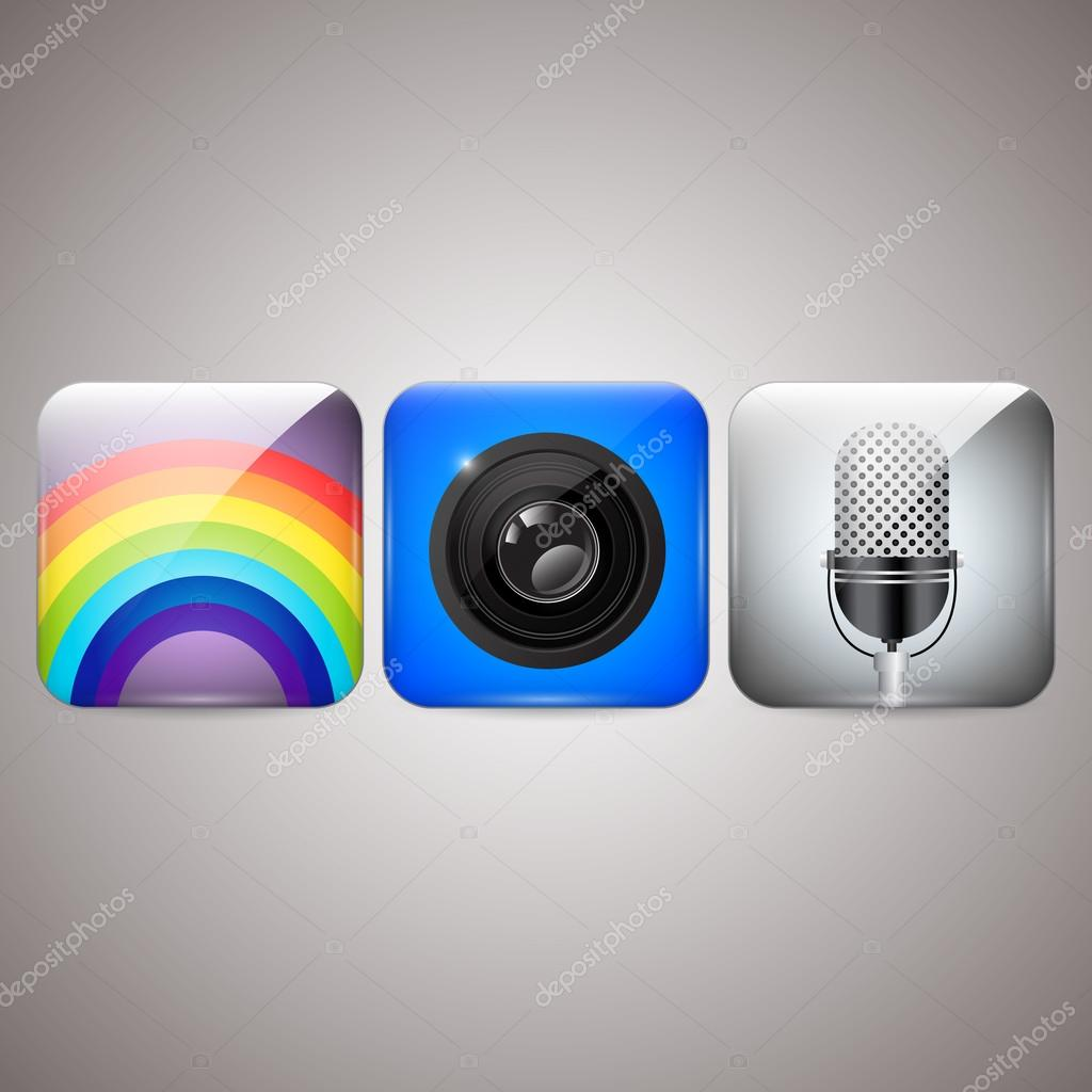 Icons set of microphone, camera, rainbow stock vector