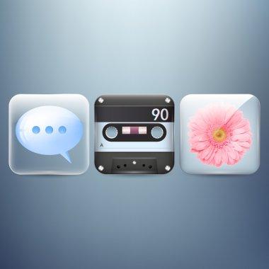 Icons set of flower, speech bubble, cassette