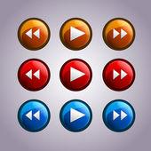 Vector set of media symbol buttons.