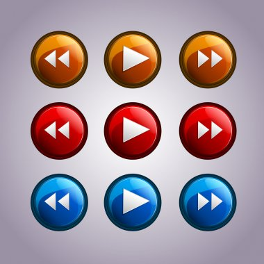 Vector set of media symbol buttons. stock vector