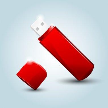 USB flash drive. Vector illustration. stock vector