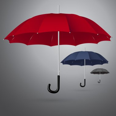 Opened Umbrellas. Vector set stock vector