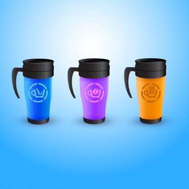 Different colored thermos coffee cup vector set isolated on white stock vector