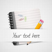 Yellow Pencil and notepad icon. Vector illustration