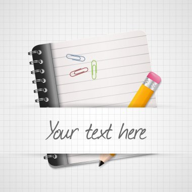 Yellow Pencil and notepad icon. Vector illustration stock vector