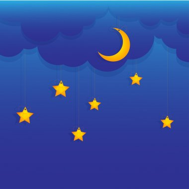 Vector background with stars and moon. stock vector