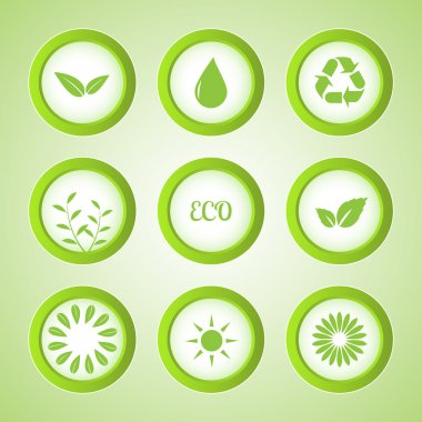 Vector set of eco buttons. stock vector
