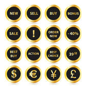 Golden sale buttons set