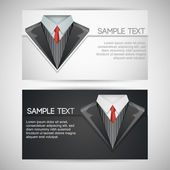Vector business cards with elegant suit.