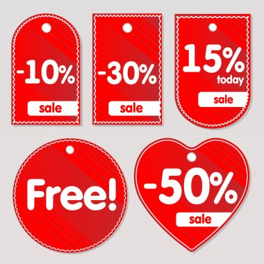 Vector red sale labels stock vector