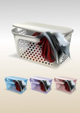 Vector basket with clothes stock vector