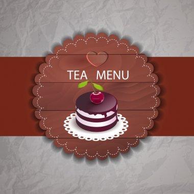 Tea menu with cupcake stock vector