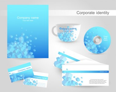 Professional corporate identity kit or business kit with artistic, abstract wave effect for your business stock vector