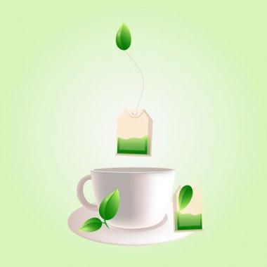 Vector cup of green tea stock vector