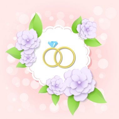 Vector golden wedding rings with flowers stock vector