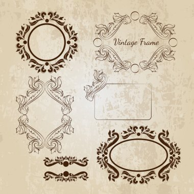 Set of vector vintage frames stock vector