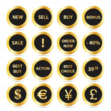 Golden sale buttons set stock vector