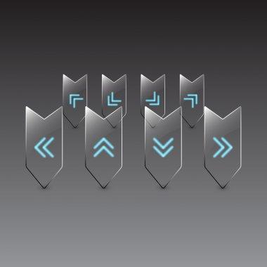 Vector glass navigation icons set stock vector