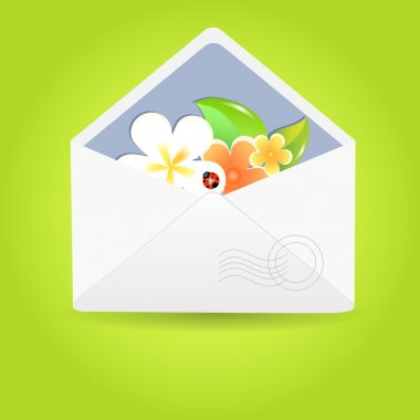 Envelope with flowers. Vector illustration. stock vector