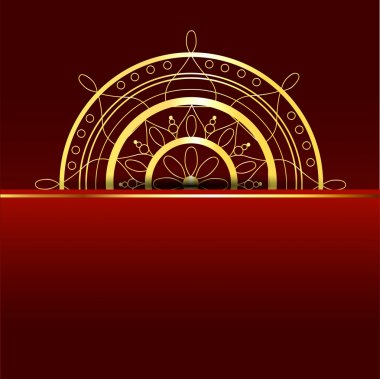Vector red background with gold element. stock vector
