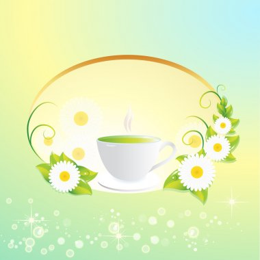 Vector background with tea cup. stock vector