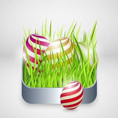 Vector background for happy easter with eggs. stock vector